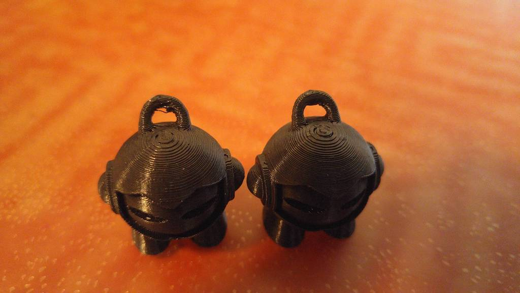 two models printed in pla and pla plus
